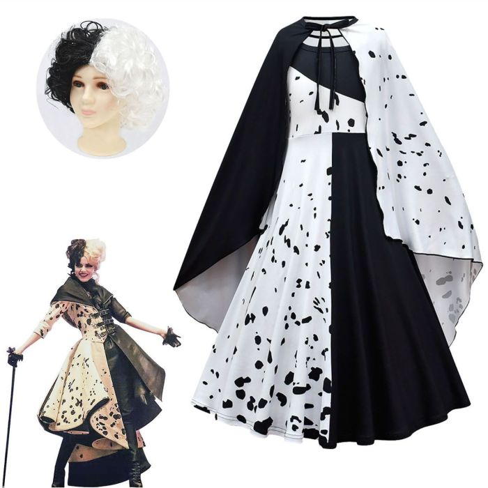 Movie Cruella De Vil Cosplay Costumes Kids Gown Black White Maid Dress Halloween Party Dress With Cloak Wig