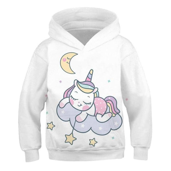 Kids Hoodies Unicorn 3D Printed Girls Sweatshirt Lovely Boys Tops Long Sleeve Sweater Cute Children Clothes  4T-14T Kids H