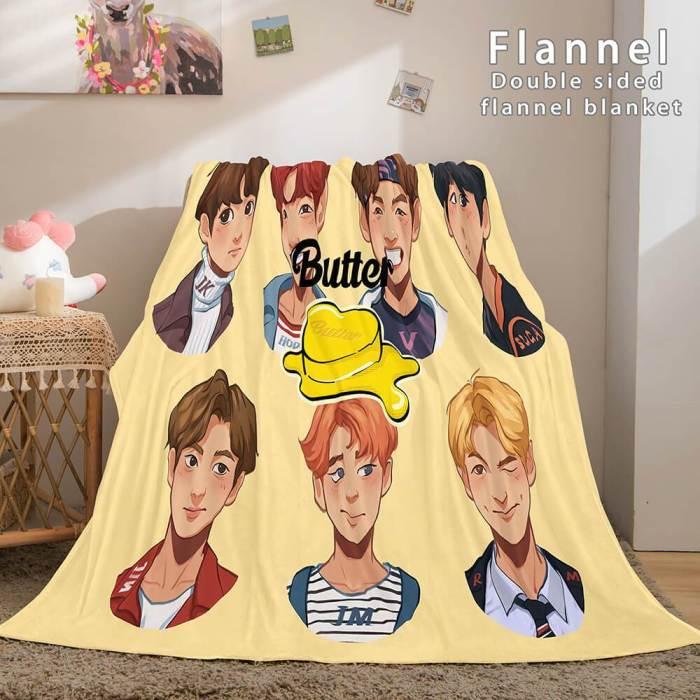 Bts Butter Bangtan Boys Cosplay Flannel Blanket Comforter Bedding Sets