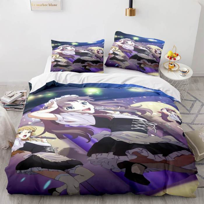 Japan Maid Cute Loli Cosplay Bedding Set Quilt Duvet Covers Bed Sheets