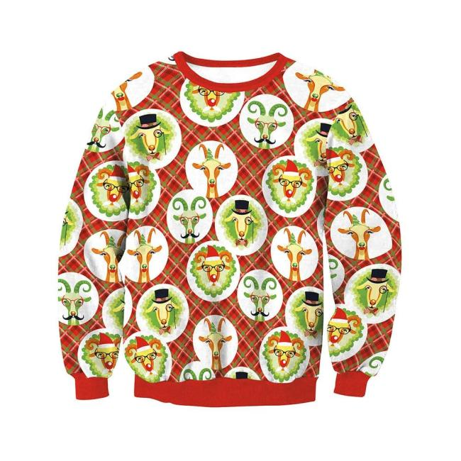 Ugly Christmas Sweater Round Neck  Fashion Long Sleeve Casual Pullover