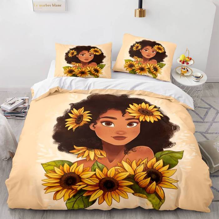 African Girls Cosplay Bedding Sets Duvet Covers Comforter Bed Sheets