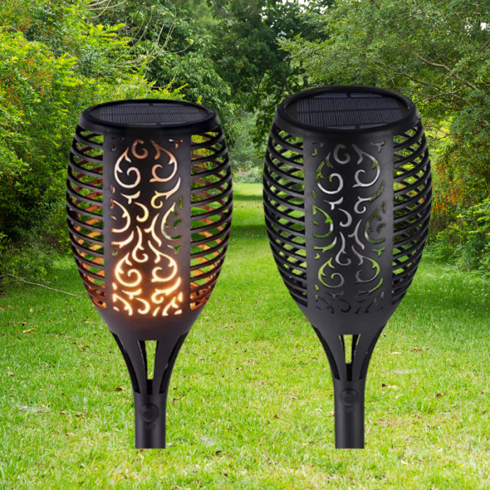 Solar Flame Flickering Lamp Torch For Garden