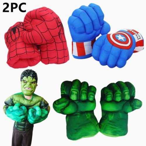 2Pc Kid Movie Fantasy Incredibl Superhero Figure Spider Ma/Hulks Toys Boxing Gloves Boy Halloween Gift Hulk Gloves