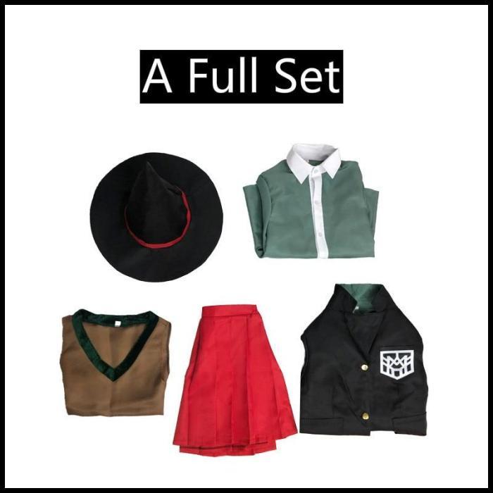 Danganronpa Magician Yumeno Himiko Cosplay Costume School Girl Uniform Halloween Party Skirt Set Suit Red Wig Magic Hat