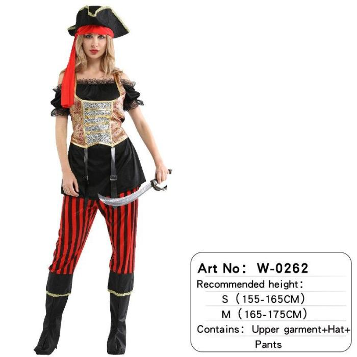 Halloween Women Skull Sexy Pirate Costume Adult Carnival Clothing Headwear Dress Birthday Party Performance Show