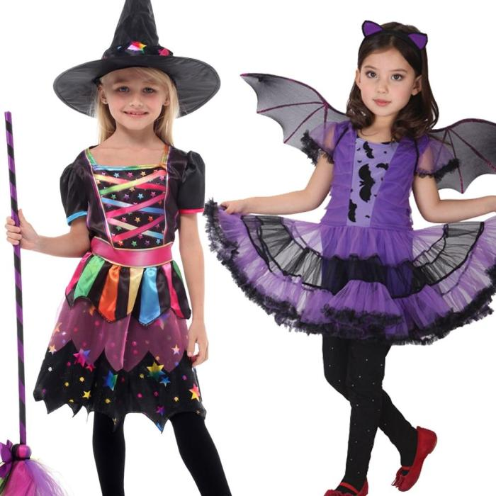Children Girls Halloween Cosplay Witch Costume Baby Kids Party Witch Dress Clothing Set Hat Pumpkin Bag Christmas Gift