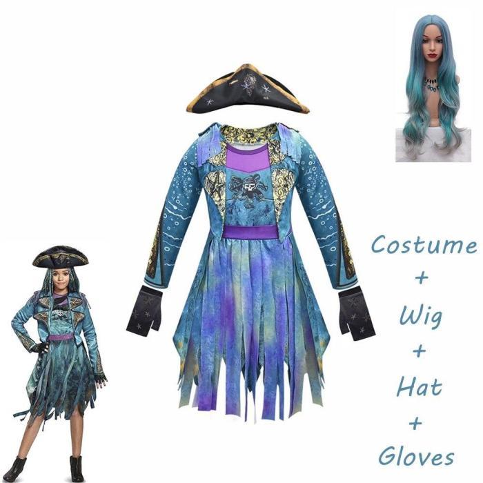Mardi Gras Blue Descendants 3 Uma Costumes Long Sleeves Party Funny Cosplay Girls Wig+Dress Halloween Costume For Kids