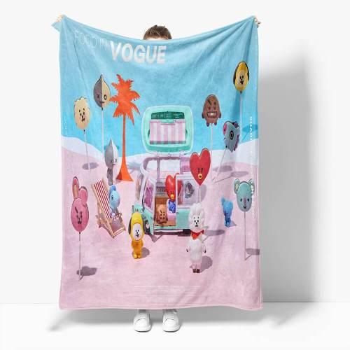 Bt21 Flannel Fleece Throw Cosplay Blanket Halloween Comforter Sets