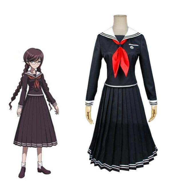 Anime Danganronpa Toko Fukawa Cosplay Costume Dangan-Ronpa Cos Halloween Party Costume Adult Women Jk Sailor Suit Tops Skirt