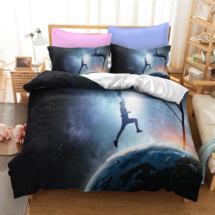 Basketball Lakers Bulls Air Jordan Cosplay Bedding Set Duvet Cover Comforter Bed Sheets