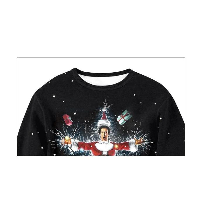 Ugly Christmas Sweater Santa Claus 3D Printing Funny Round Neck Couple Long Sleeve Pullover