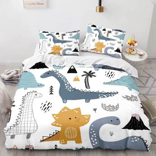 Cartoon Dinosaur Cosplay 3 Piece Bedding Sets Duvet Covers Bed Sheets