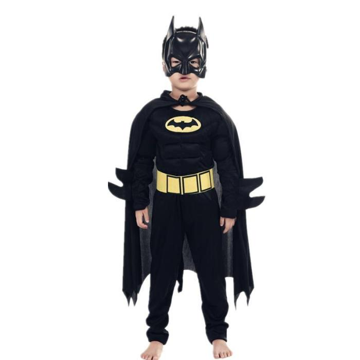 Kids Boys Muscle Costumes With Mask Cloak Movie Character Superhero Cosplay Halloween Party Role Play