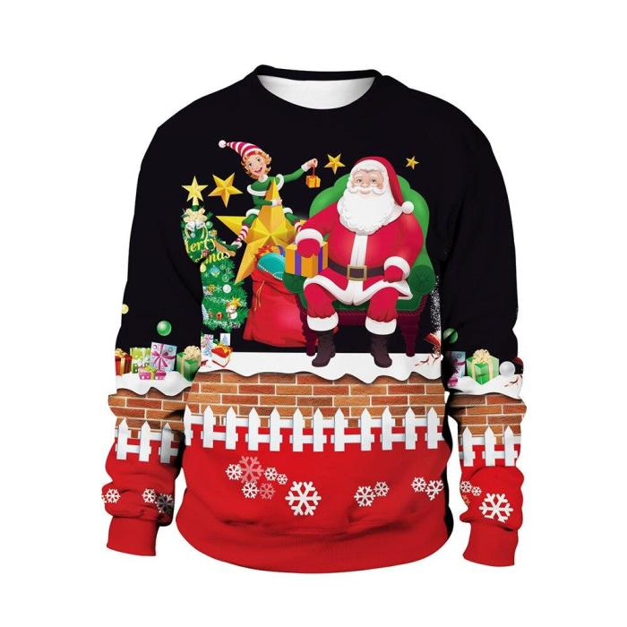 Fashion Ugly Christmas Sweater Men Women Round Neck Holiday Xmas 3D Funny Pullover Tops Couple