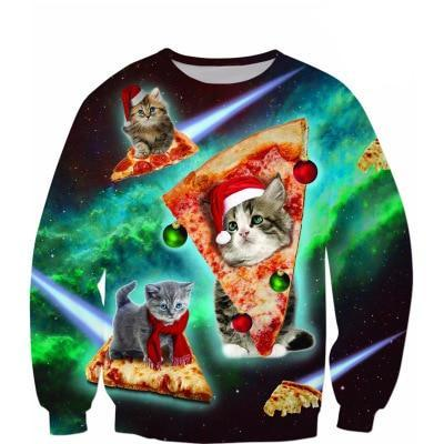 Funny 3D Print Cat Sweater Men Women Ugly Christmas Sweaters Jumpers Tops Holiday Party Pullover Hoodie Sweatshirt 3Xl
