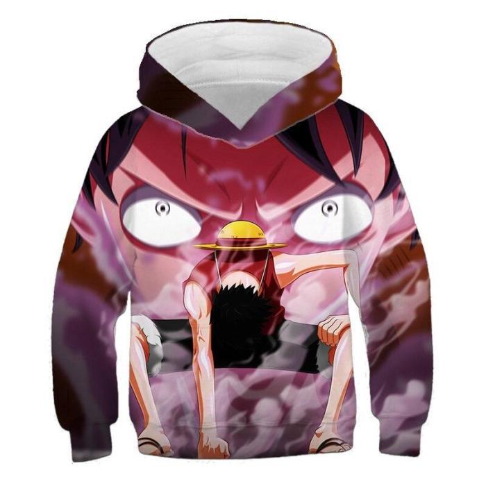 Anime Cartoon One-Piece 3D Printing Boys And Girls Sweatshirt, Custom Fashion, Leisure, Personality Ace Children'S Hoodies
