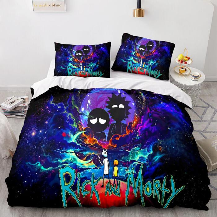 Rick And Morty Cosplay 3-Piece Bedding Sets Duvet Covers Bed Sheets