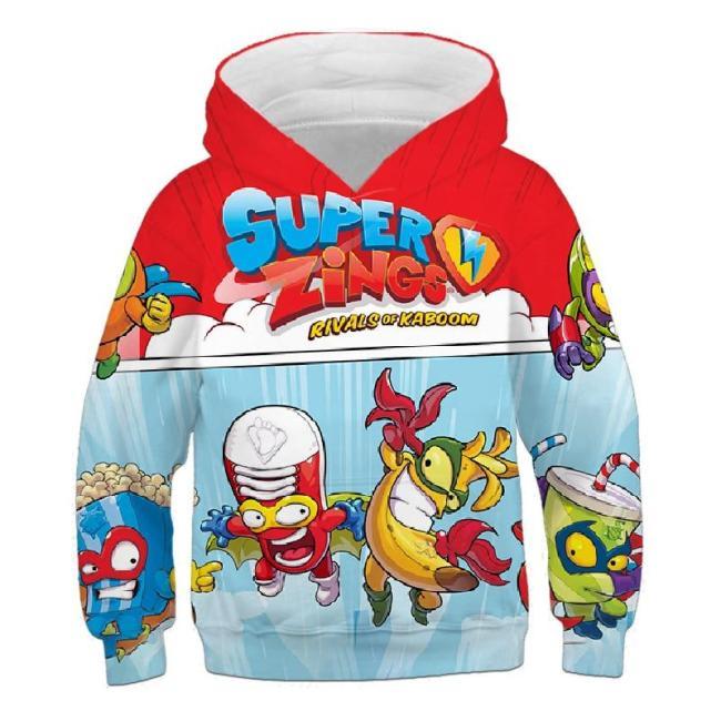 Children Cartoon Game Super Zings 3D Print Hoodies Kids Clothes Girls Sweatshirts Boys Autumn Outfits Unisex Anime Clothing Tops