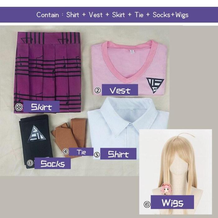 Danganronpa V3 Cosprey Akamatsu Kaede Costume Women'S Uniform Anime Shirt / Vest / Skirt / Socks/Wigs Jk School Uniform