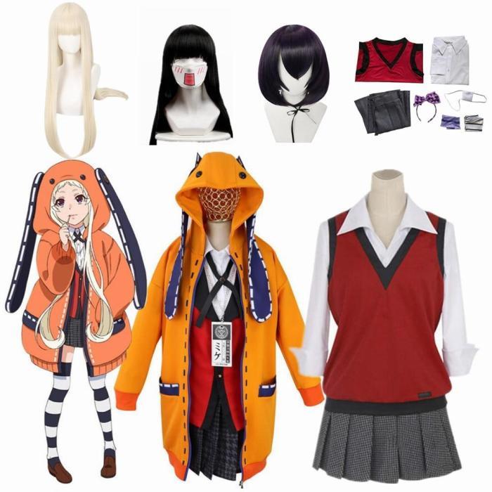 Anime Kakegurui Uniform Yumeko Jabami Kakegurui Twin Runa Yomozuki  Ikishima Midari Cosplay Costumes