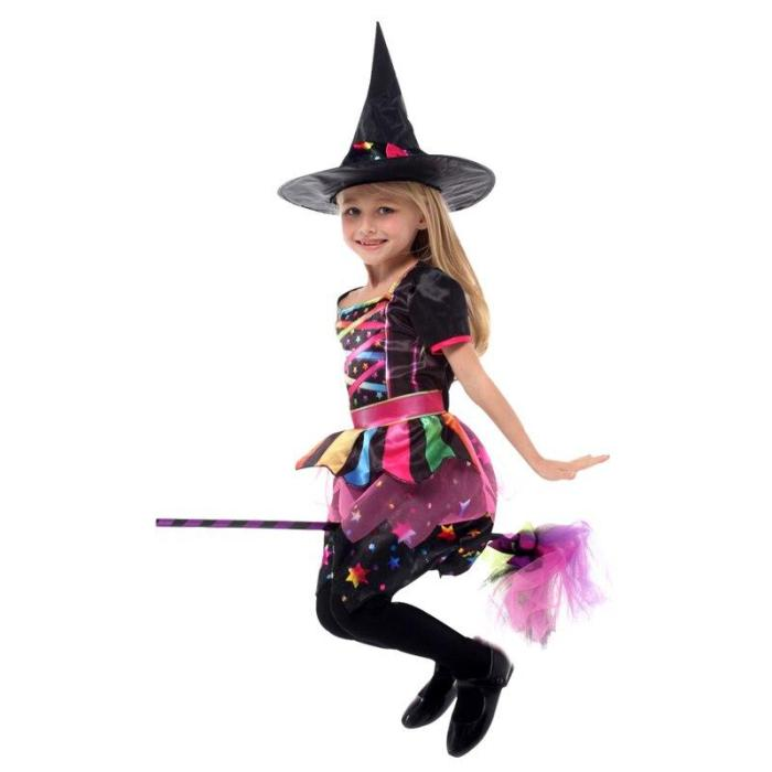 Halloween Kid Girls Witch Costume Pumpkin Bag Silver Stars Printed Carnival Cosplay Dress Pointed Hat Wand Dress Up Clothes