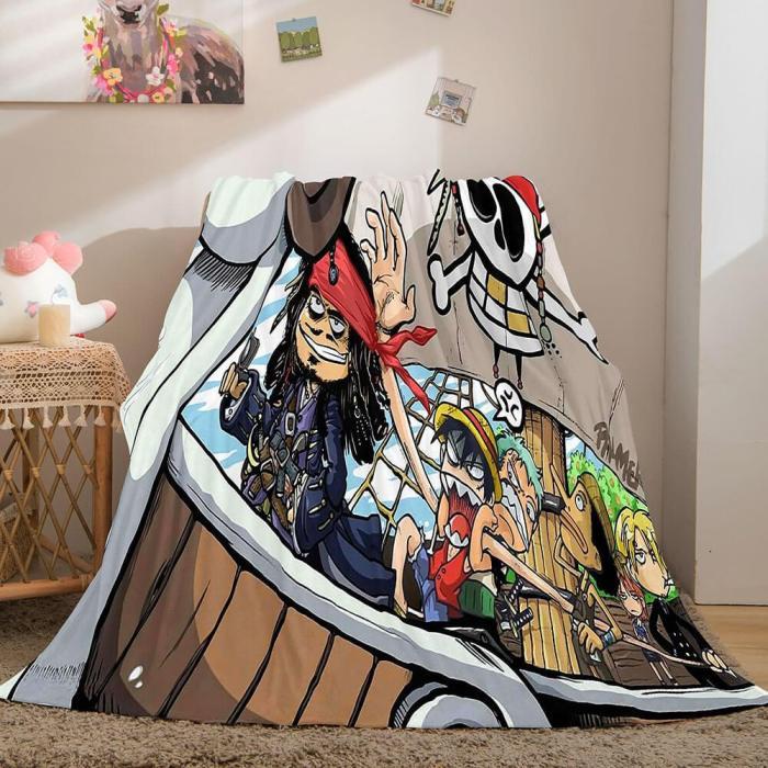 Anime One Piece Cosplay Flannel Blanket Fleece Throw Blanket Sets