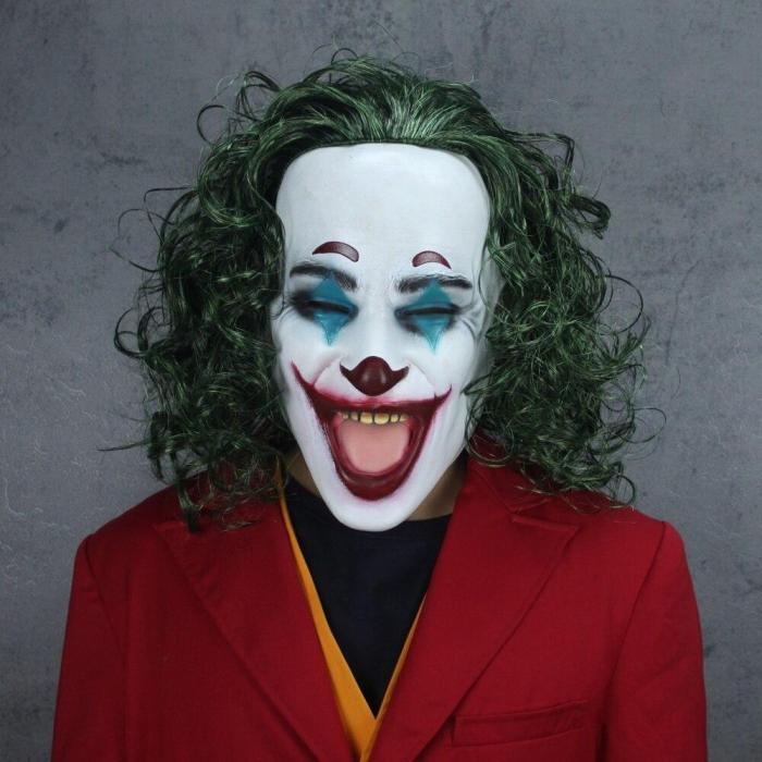 Men'S Halloween Costumes Movie Joker Cosplay Suit Full Set Outfits The Joker Uniform Red Suit Halloween Men Women Outfit+Mask