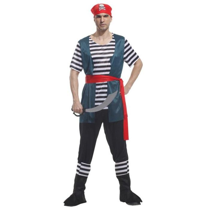 Pirates Costume Top Pants With Shoes Cover For Adult Pirate Captain Cosplay Halloween Stage Performance Birthday Party