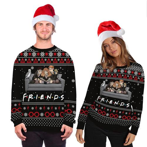 Fashion Ugly Christmas Sweater Movie Cartoon Characters 3D Printing Round Neck Sweater Couple Long Sleeve Pullover Sweater
