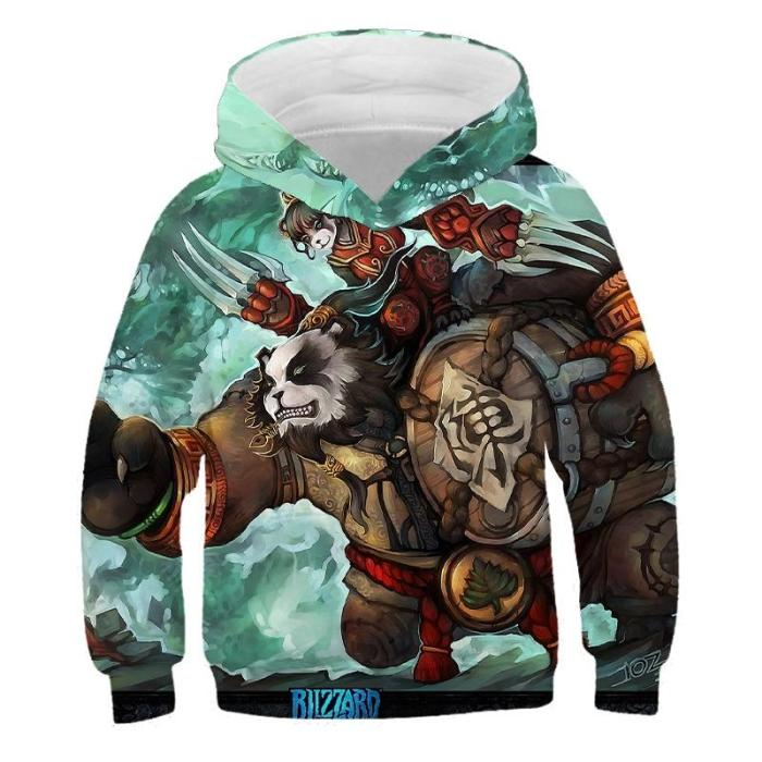 Boy'S 3D Cartoon Panda Warrior Hooded Sweatshirt  Game Harajuku Fashion Teen Casual Jacket Fashion Kids Sweater Autumn