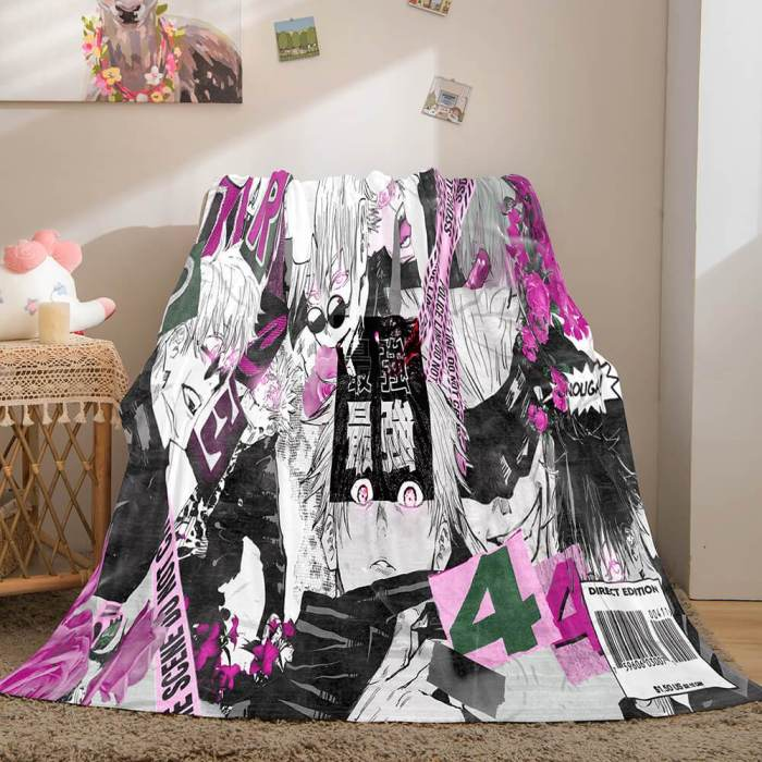 Jujutsu Kaisen Flannel Caroset Throw Cosplay Blanket Comforter Set