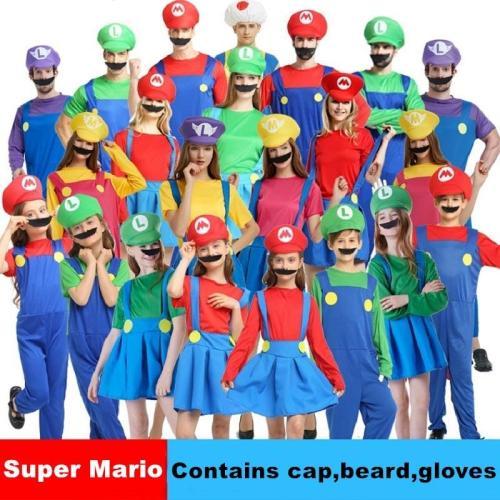 Adult Halloween Super Mario Cosplay Costumes Children Family Funy Luigi Bros Plumber Purim Costume Fancy Dress Christmas Party