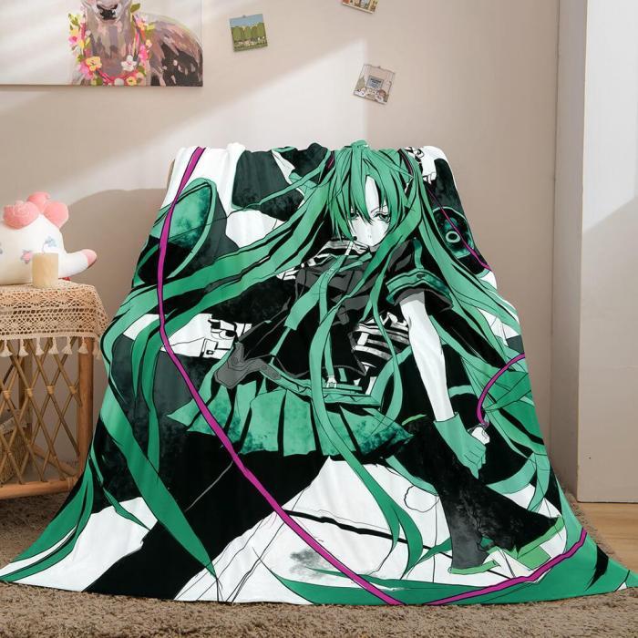 Hatsune Miku Cosplay Flannel Blanket Throw Comforter Bedding Sets