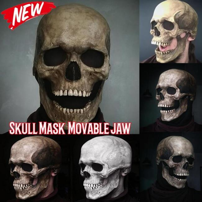 Fashion Halloween Horror Full Head Skull Mask Helmet With Movable Jaw Adult Latex Mask Scary Skull Cosplay Props