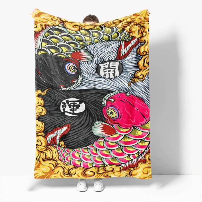 Chinese National Tide Elements Flannel Fleece Throw Cosplay Blanket