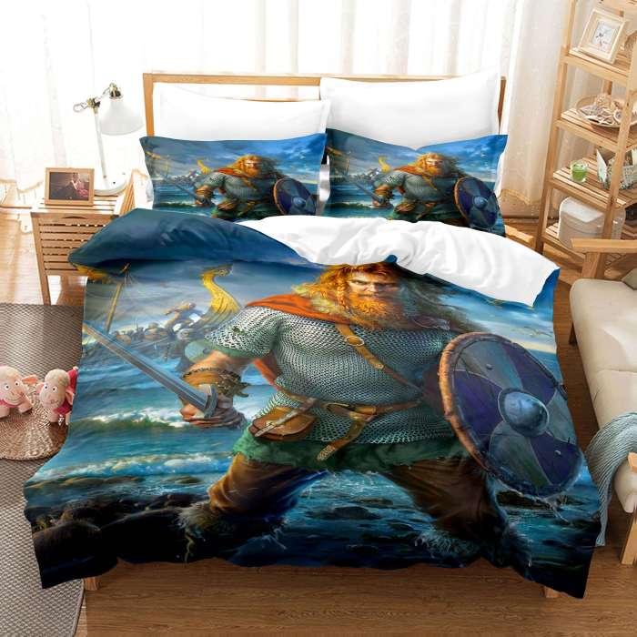 Viking Cosplay Bedding Set Duvet Cover Comforter Bed Sheets