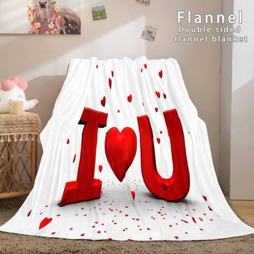 I Love You Bed Blanket Soft Flannel Blanket Comforter Bedding Sets