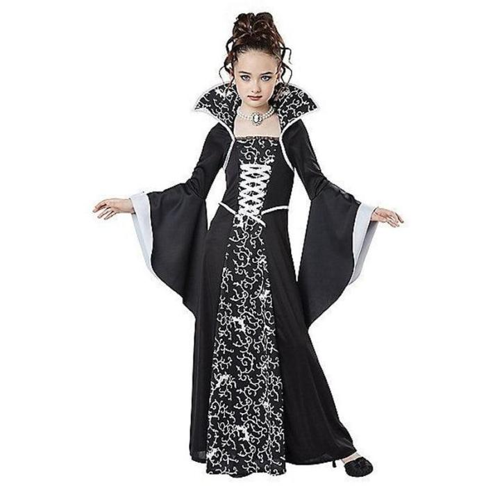 Cosplay Costume Halloween Costume For Kids Girls Vampire Costume Girl Red Black Medieval Dress Costume Child Kids For Party