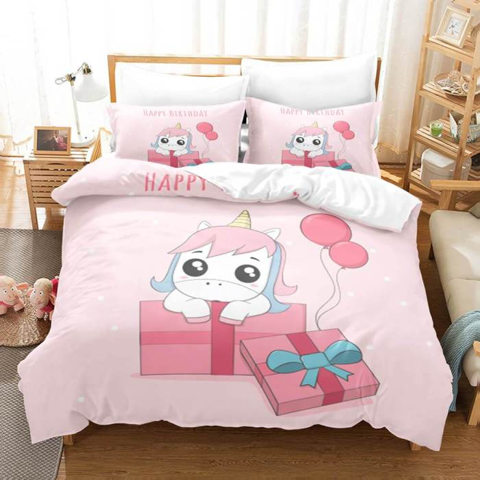 Girls Unicorn Bedding Sets Cosplay Duvet Covers Comforter Bed Sheets