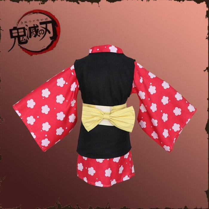 Kids Anime Demon Slayer Kimetsu No Yaiba Makomo Cosplay Costume Kimono Dress Mask Wig Full Set Halloween Party Suits