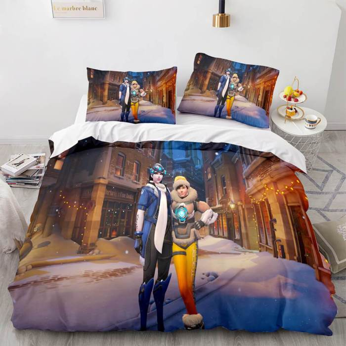 Overwatch Cosplay 3 Piece Bedding Sets Duvet Covers Bed Sheets