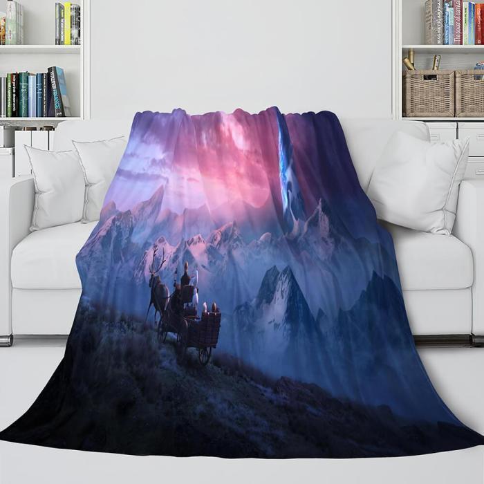Frozen 2 Anna Elsa Flannel Fleece Throw Cosplay Blanket Comforter Set