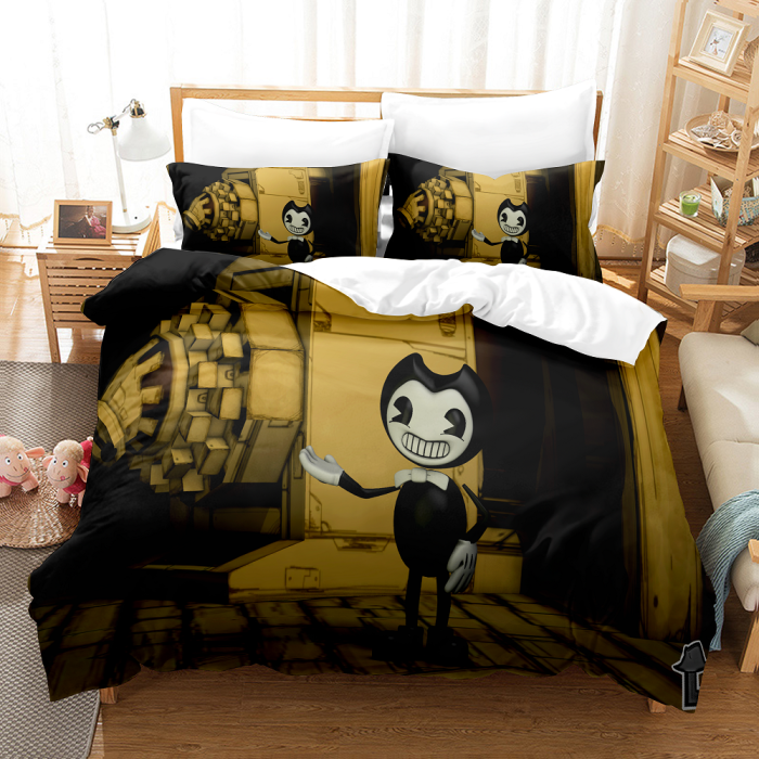 3-Piece Bendy And The Ink Machine Bedding Set Duvet Cover Bed Sheets