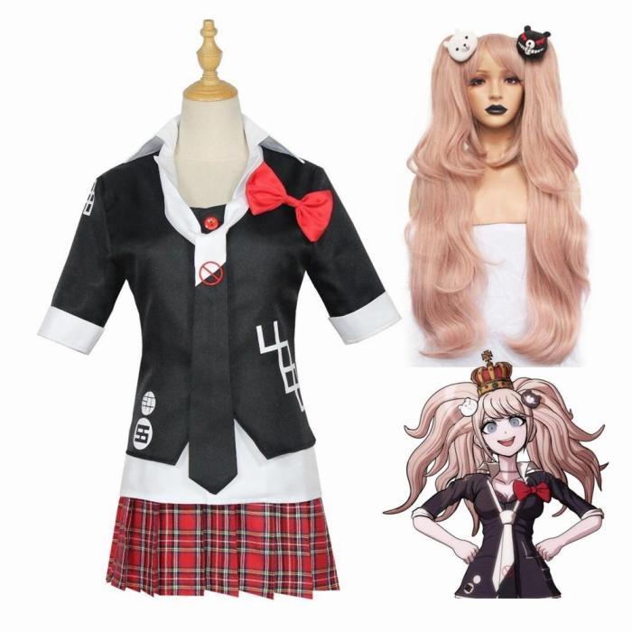 Anime Danganronpa Enoshima Junko Cosplay Costume Uniform Cafe Work Clothes Short Skirt Set