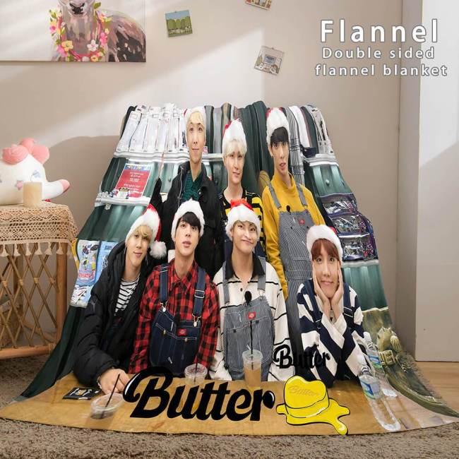 Kpop Bts Butter Cosplay Flannel Blanket Soft Comforter Bedding Sets