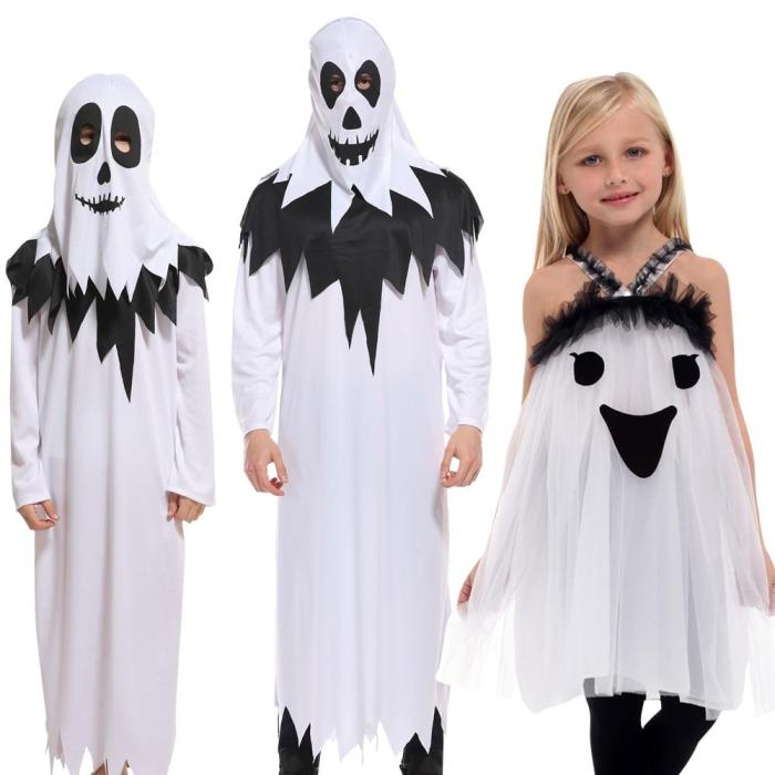 Halloween Purim Carnival Scary Costumes Kids Children White Ghost Costume Cosplay Robe For Boys Girls Christmas Gift