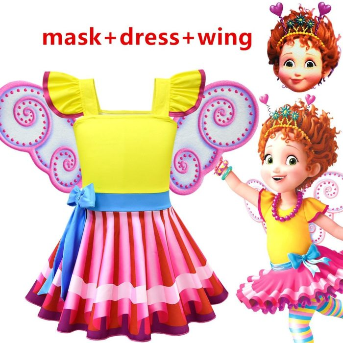 Beautiful Fancy Nancy   Girl Dress Ballet Princess Dress With Butterfly Wings And Mask Cosplay Clothing