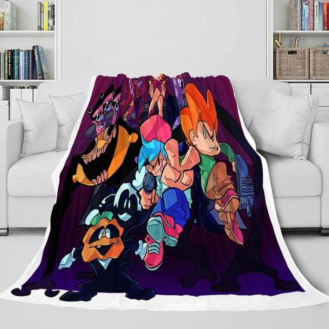 Friday Night Funkin Cosplay Flannel Blanket Warm Throw Bed Blankets