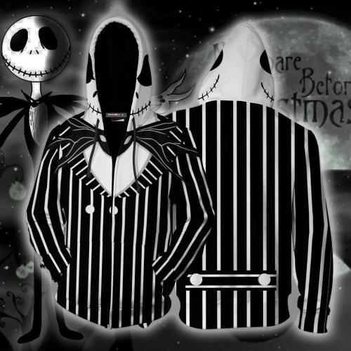 The Nightmare Before Christmas Movie Jack Sally Skellington 36 Cosplay Unisex 3D Printed Hoodie Sweatshirt Jacket With Zipper